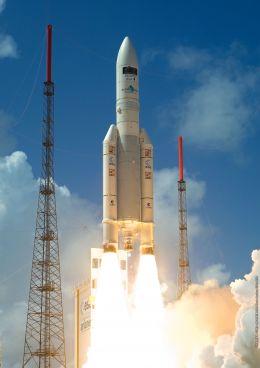 Ariane 5 decoland pe 14 mai 2009, avand la bord satelitii Herschel & Planck
