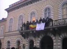 Imagini din timpul Revolutiei de la Cluj/captura youtube.