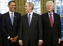 Barack Obama, George W. Bush si Bill Clinton